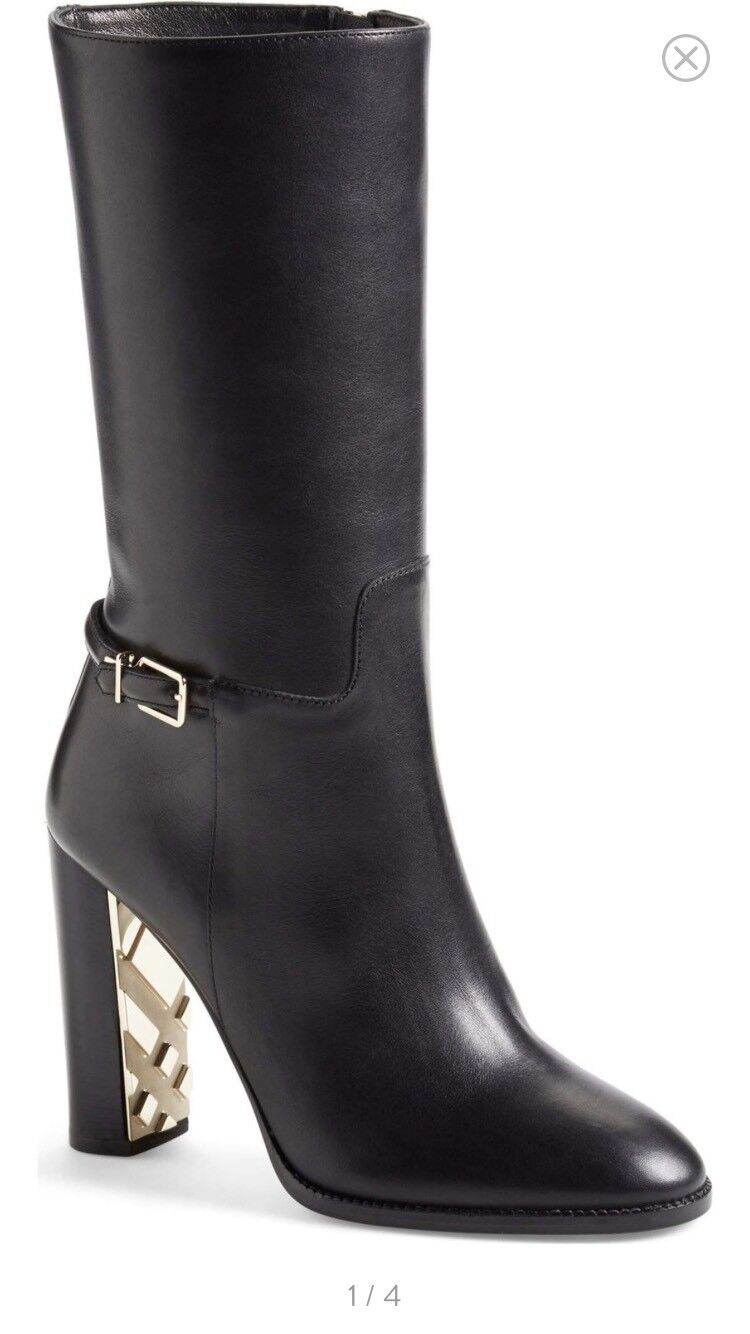 Burberry NEW MISMATCH 39.5 40 Marling Equestrian Womens Leather Boots  1395