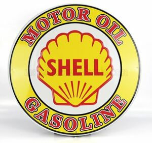EDICOLA 1/1 ACCESSORIES | METAL ROUND PLATE - SHELL GASOLINE | YELLOW RED
