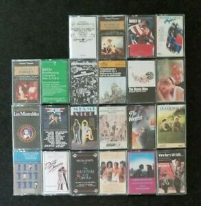 Vintage-large-lot-of-22-mixed-assorted-music-audio-cassettes-tapes-collection