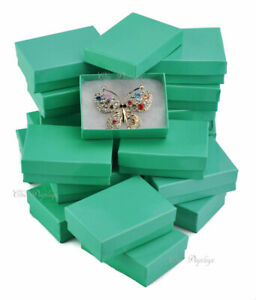Details About Lot Of 20 Teal Cotton Filled Boxes Jewelry Box Earring Box Gift Boxes Gift Box