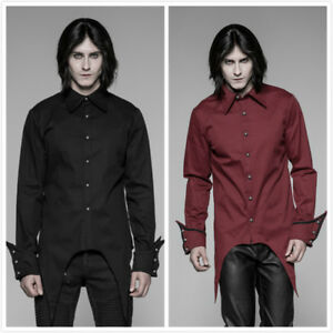 Punk-Rave-Party-Black-Red-Gothic-Cotton-Simple-Personality-Men-039-s-Casual-Shirt
