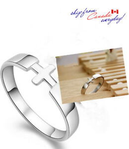 S925 Sterling Silver Cross Unisex Ring /18k GP/Valentine/Matching Ring Available