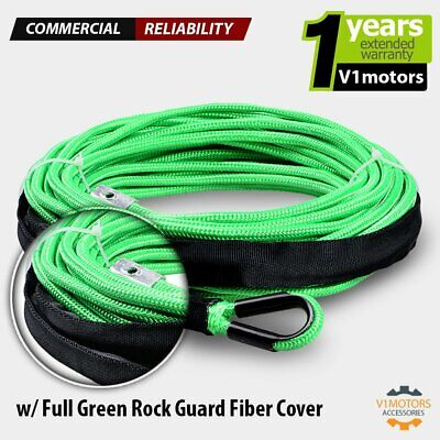 50 x 1//4 Bright Green 7000lbs Synthetic Winch Line Cable Rope with Black Rock Heat Guard for Truck ATV UTV SUV