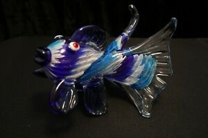Murano-Italian-Art-Glass-Sculpture-Figure-FLYING-FISH-Extended-Tail-Fins