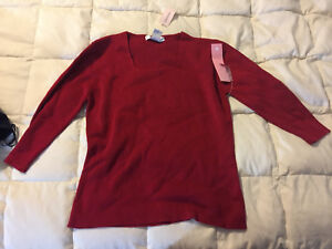 NEW-WOMENS-DRESSBARN-RED-LONG-SLEEVE-SHIRT-TOP-SIZE-PETITE-MEDIUM-NEW-WITH-TAGS