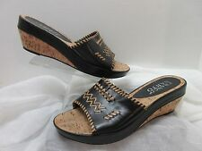 Franco Sarto Brown Beige Native Blanket Accent Cork Slip On Slides Sandal SZ 9