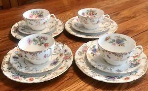 Vintage Victoria Czech Vit3 Porcelain Cups, Saucers & Lunch Plates (Set Of 4)