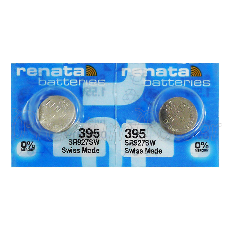 2 x Renata 395 Silver Oxide 1.55v Batteries sr927w sr57 399 Clock 0% MERCURY