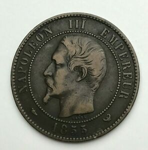 Dated-1855-W-France-10-Centimes-Dix-Centimes-Coin-Napoleon-III