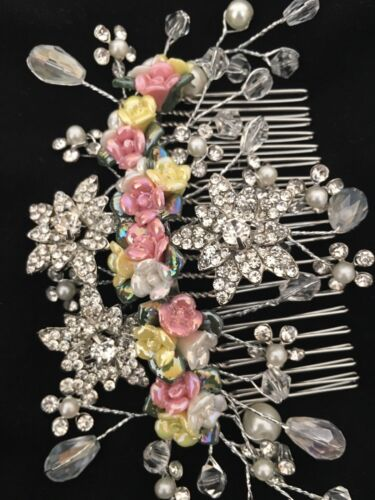 Bridesmaid Bridal Wedding Silver Austrian Crystal Yellow And Pink Rose Hair Comb