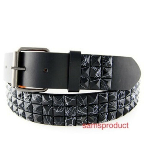 Pyramid Studded Snap On Leather Belt L 36-40 Black Line