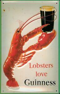 Guinness-Lobster-Blechschild-Schild-3D-gepraegt-gewoelbt-Tin-Sign-20-x-30-cm