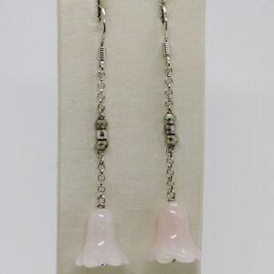 Ohrringe-aus-Silber-925-Rhodiniert-Anhaenger-Mit-Rosenquarz-A-Glocke-Campanula