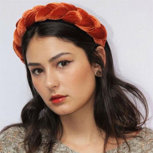 Women Velvet Wide Headband Braid Hairband Hair Hoop Girls Sweet Twisted Headwear