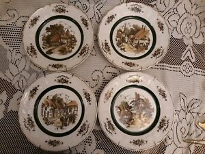 4-vintage-English-wall-plates-W-Hangers-Grindley-of-stroke-for-princess-house