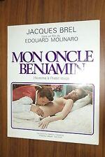JACQUES BREL MON ONCLE BENJAMIN 1969 RARE SYNOPSIS