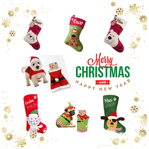 PERSONALISED PET CHRISTMAS SANTA SACK EMBROIDERED NAME COSTUME STOCKING