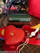 RARE Vintage GUCCI Red HEART Leather Jewelry Case Travel Accessory Box Keeper GG