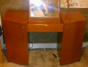 Details About Vintage Dressing Table Vanity Makeup Desk Bedroom Dresser Fold Down Mirror Gift