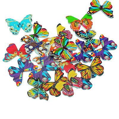 50 Mixte Boutons Bois Papillon 2 Trous Couture Scrapbooking 28x20.8mm