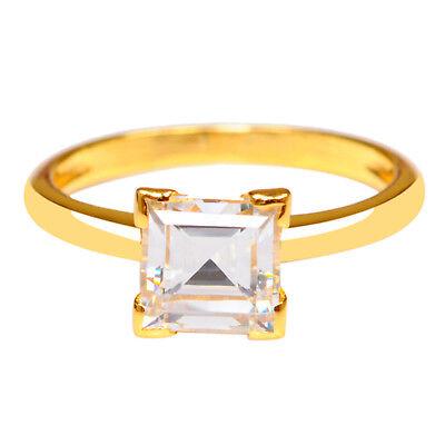 Realistic 2,30 Karat Quadrat Form 585er Gelbgold Erfreulich Solitär Verlobung Ring Fine Rings