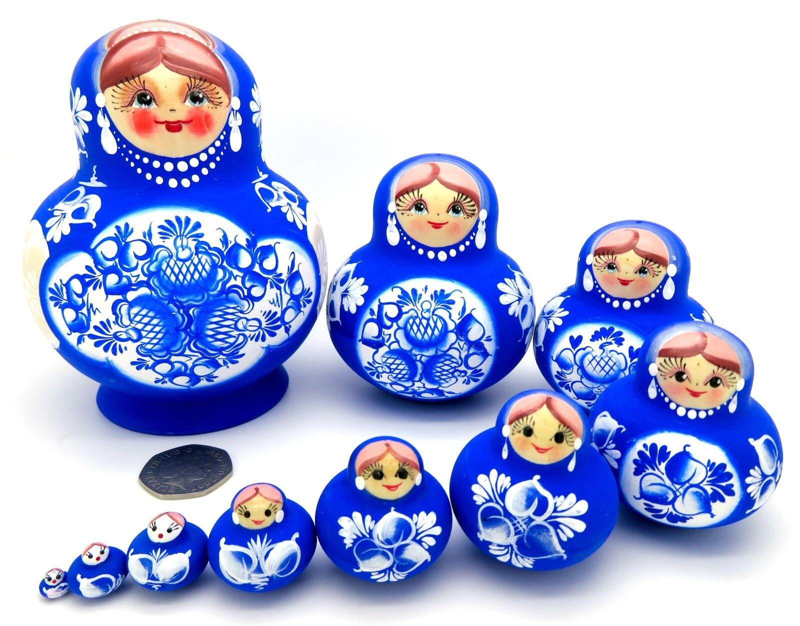 Verschachtelte Russisch Puppen Matryoshka Original matt handbemalt blau Weiß 10