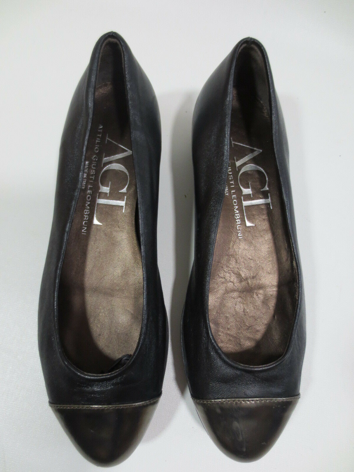 Ballerinas Agl Attilio Giusti Leombruni 37 Leather Black Mint Condition Z2