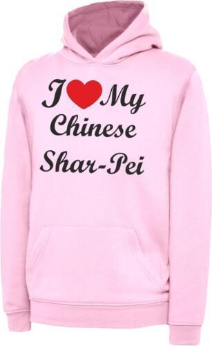 I Love My Chinese Shar Pei Dog Kids Childrens Hoody Hoodie Hooded Sweatshirt