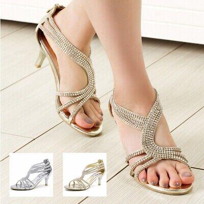 SheSole Womens Low Heel Strappy Sandals Rhinestone Wedding Shoes Silver Gold | eBay