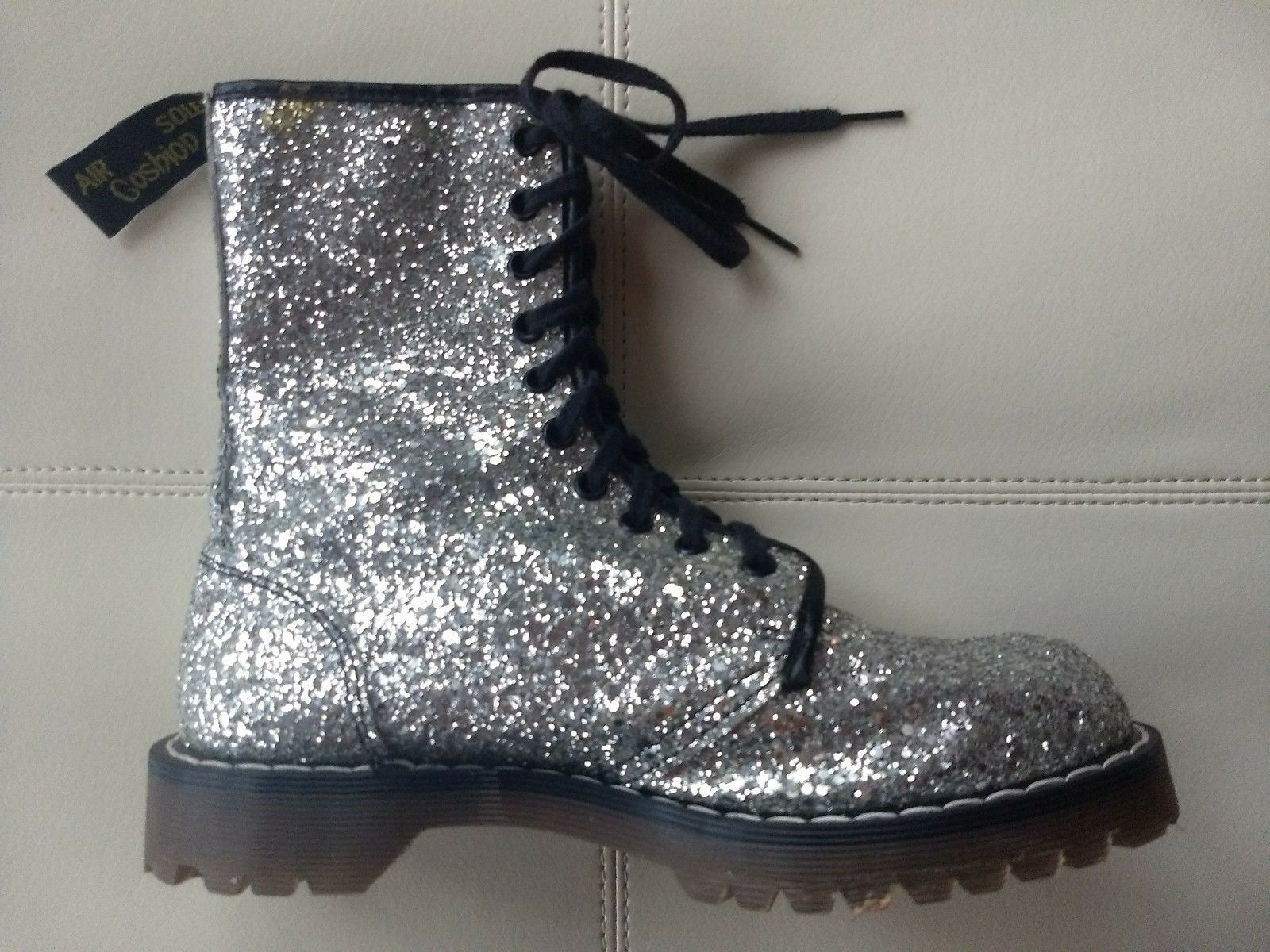 DOC DR. MARTENS Silber Silber Silber SEQUIN GLITTER Stiefel RARE VINTAGE MADE IN ENGLAND 5UK 2cfc0d
