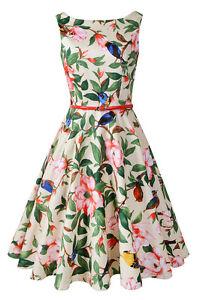53ce275853 Image is loading Sleeveless-Audrey-Hepburn-Vintage-Tea-Dress-with-Belt-
