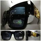 New CLASSIC VINTAGE GANGSTER HIP HOP RAPPER PARTY SUN GLASSES Black & Gold Frame