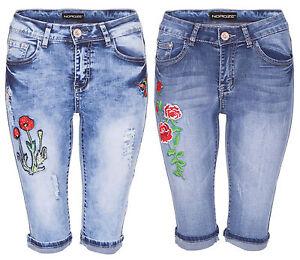 Womens Vintage Denim High Waist Floral Capri Shorts Ladies Ripped ...