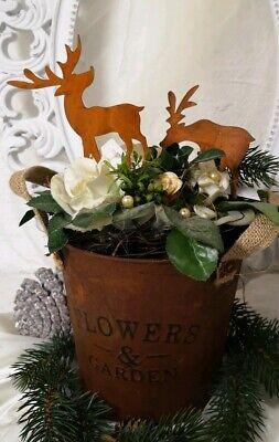 2er Set Edelrost Hirsch Rentier Garten Beetstecker Weihnachten Christmas shabby