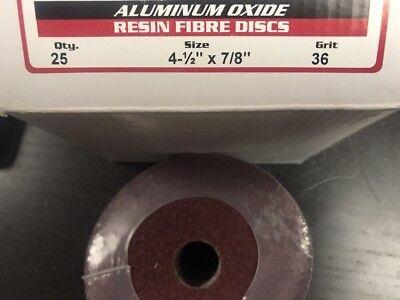 """Resin Fiber Sanding Disc 7/"""" x 7//8/"""" Aluminum Oxide 36 Grit 5-pack"""