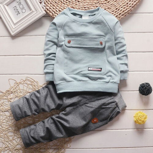 Pants Cotton Outfit 1-4Years Toddler Kids Baby Boys Long Sleeve Top T-shirt