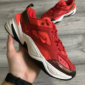 WOMENS NIKE M2K TEKNO TRAINERS RED SIZE