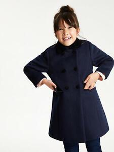 Girls-John-Lewis-Navy-Velvet-School-Coat-Dress-Jacket-Kids-Age-2-to-12-Years