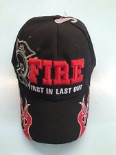 Fire Fighter Baseball Cap Hat First In Last Out FD Hat (new) Quality Black