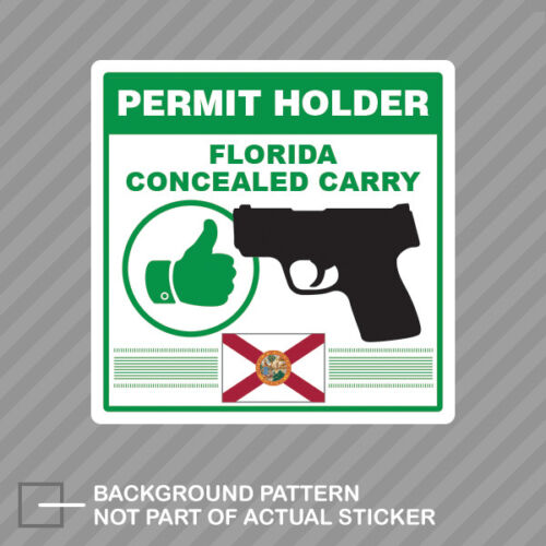 Florida Concealed Carry Permit Holder Sticker Decal Vinyl 2a permited v2