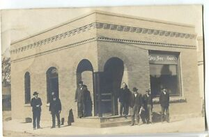 Rare-1908-State-Bank-Harris-Minnesota-Real-Photo-Postcard-RPPC