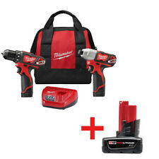 Milwaukee M12 12V Cordless Li-Ion Drill & Impact Driver Combo Kit 2494-22B New