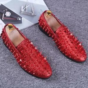 Mens-pointy-Toe-Punk-Studded-Rivet-Loafers-casual-dress-shoes-Slip-on-Nightclub