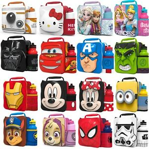 Kids-Insulated-3D-Lunch-Bag-Drink-Water-Bottle-Set-Sandwich-Box-School-Nursery