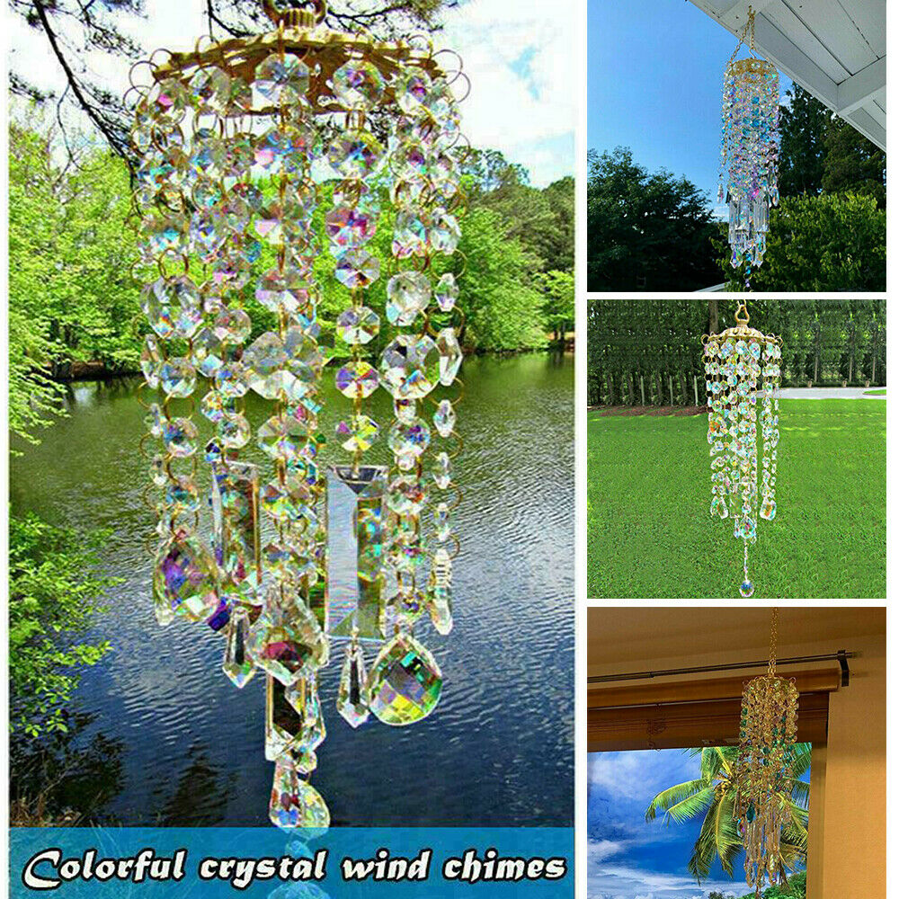 Colorful Crystal Wind Chimes Home Garden Patio Lawn Hanging Ornament Decoration
