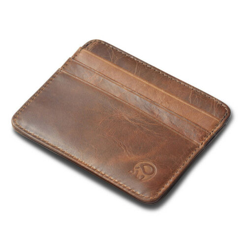 Men/'s Genuine Leather Front Pocket Slim Thin ID Credit Card Money Holder Wallet