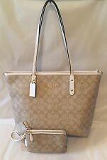 NWT Coach City Zip Tote Signature Light Khaki/Chalk And Double Zip Phone Wallet
