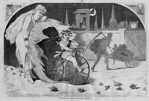 WINSLOW-HOMER-VELOCIPED-ANTIQUE-ENGRAVING-THE-NEW-YEAR-CHERUB-BICYCLE-TIME-GLASS
