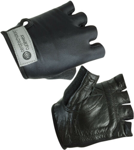 Childs Stretch Leather Bike Glove Fingerless Gloves