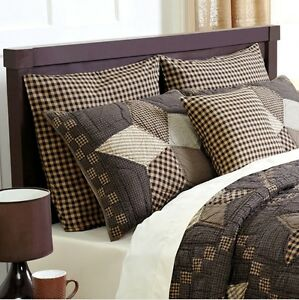 Black Tan Check Euro Sham 100 Cotton Plaid Country